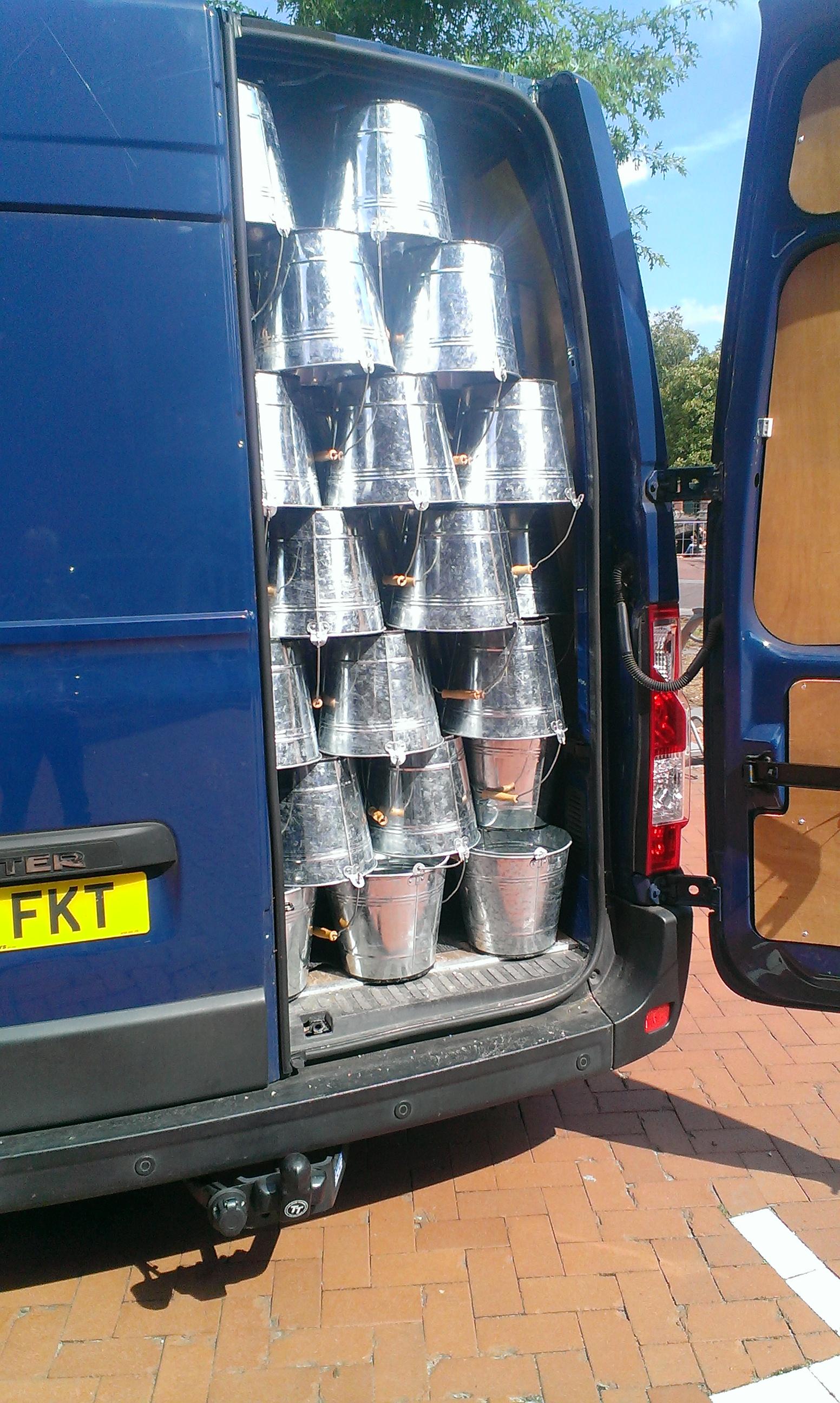 Van with Buckets